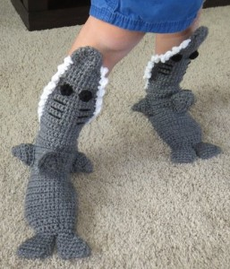 Crocheted Shark Slippers